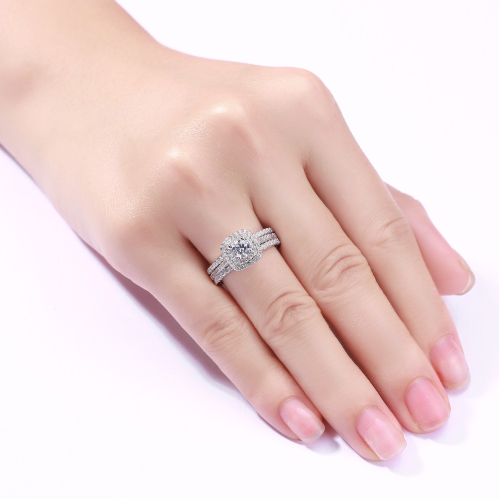 Tinnivi Sterling Silver Round Cut Created White Sapphire Halo 3PC ...