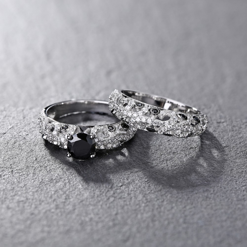 3ded780a4f3f54 Tinnivi Vintage Style Sterling Silver Round Cut Black Diamond Wedding Ring  Set