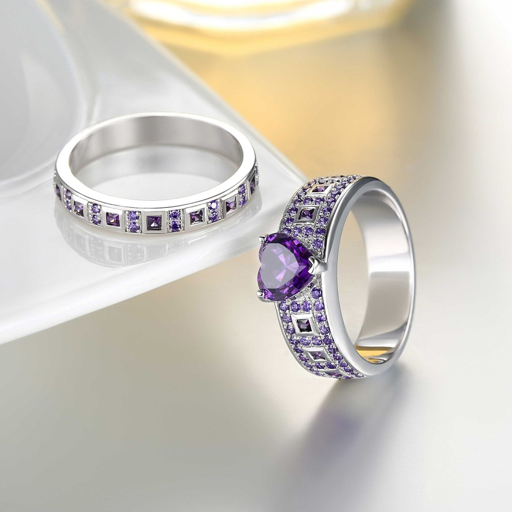Heart Cut Amethyst Sterling Silver Women S Engagement Ring