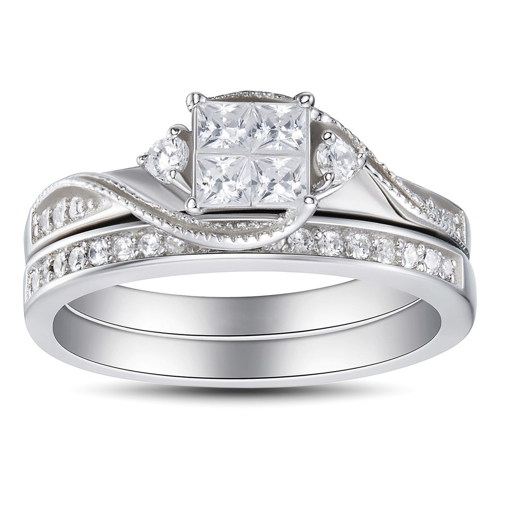 Womens Princess Cut 925 Sterling Silver White Sapphire Engagement