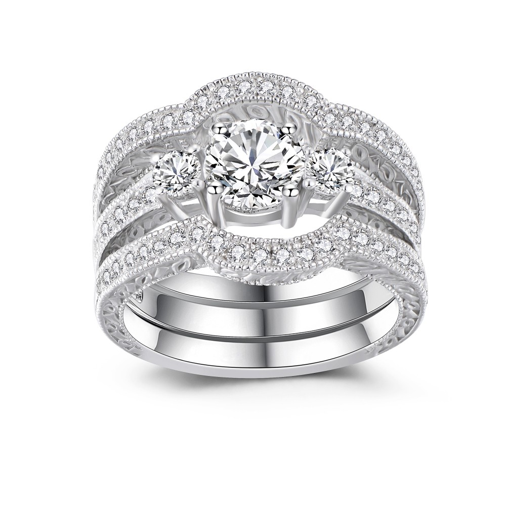 Classic Round Cut White Sapphire 925 Sterling Silver Women ...