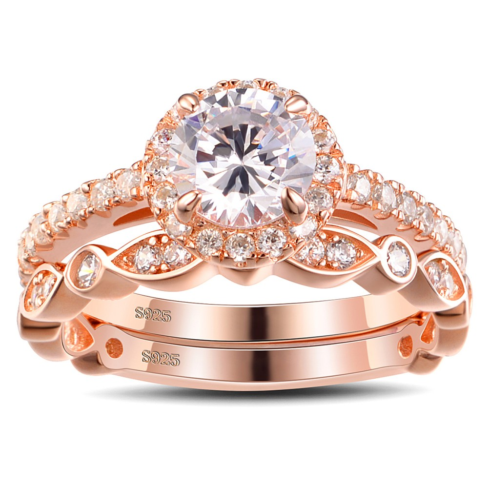 Rose Gold Color Round Cut White Sapphire Sterling Silver Womens Bridal Ring Sets