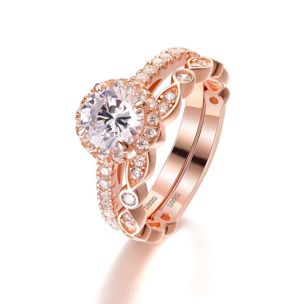 Rose Gold Color Round Cut White Shire Sterling Silver Women S Bridal Ring Sets