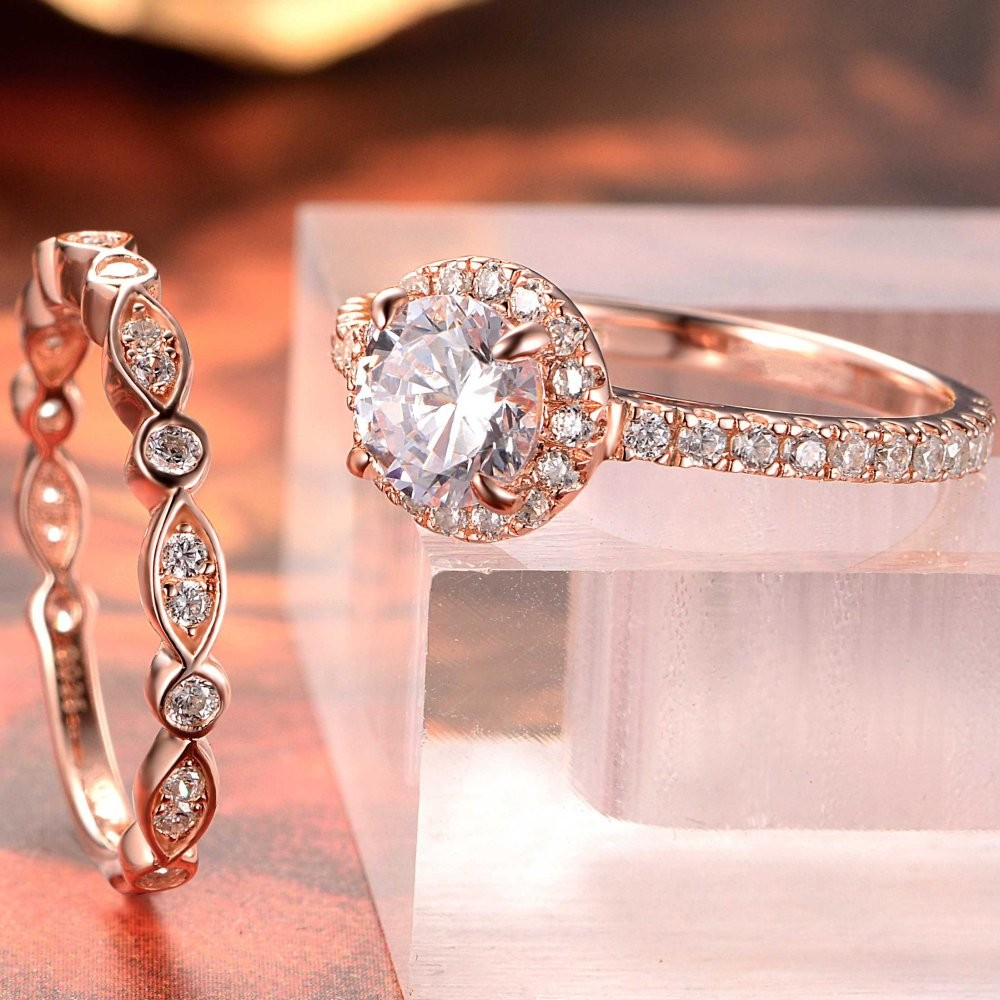 Tinnivi Rose Gold Color Round Cut White Sapphire Sterling Silver ...
