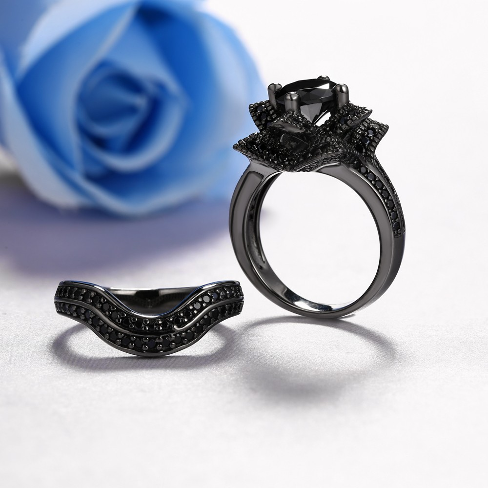 Unique Created Black Round Diamond Lotus Flower Wedding Ring Set