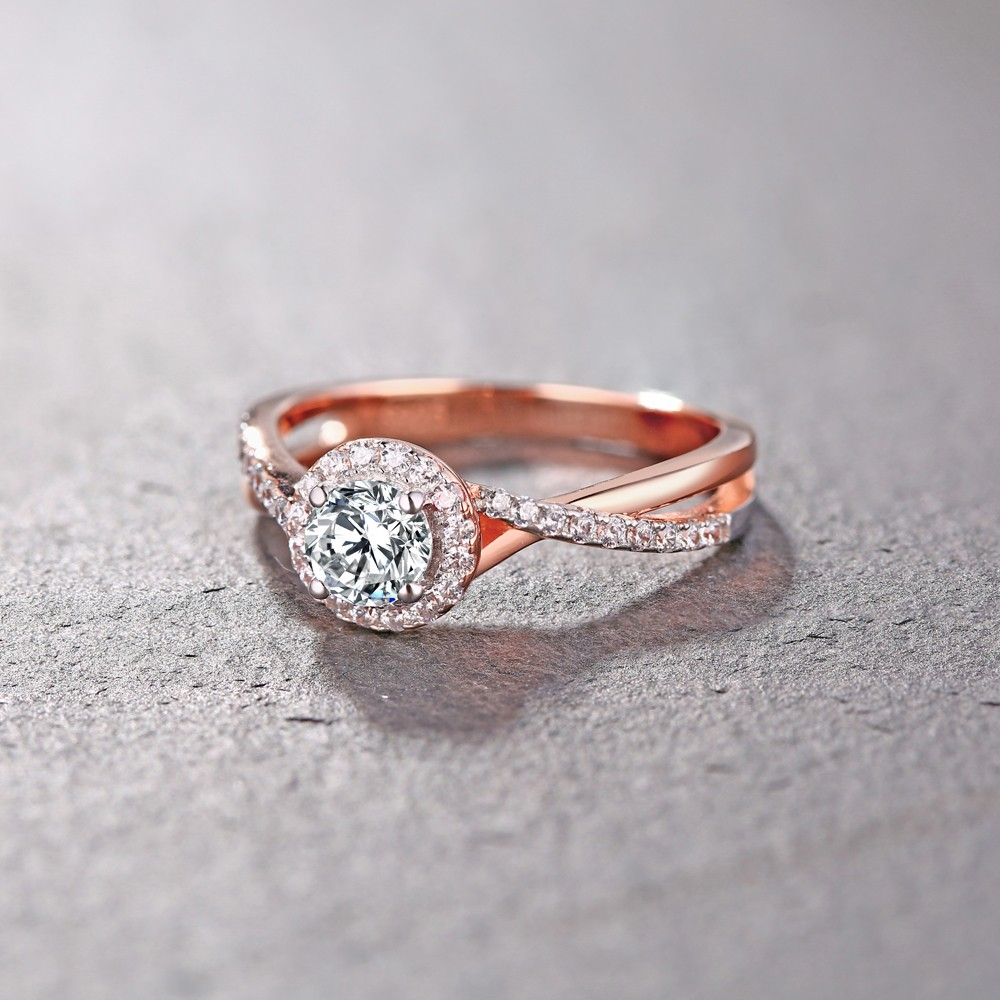 Tinnivi Sterling Silver Round Cut Created White Shire Clic Rose Gold Color Engagement Ring