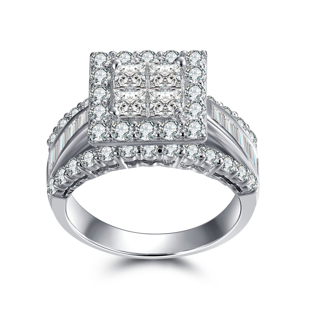 Engagement Rings Affordable: Tinnivi Gorgeous Princess Cut 925 Sterling Silver White