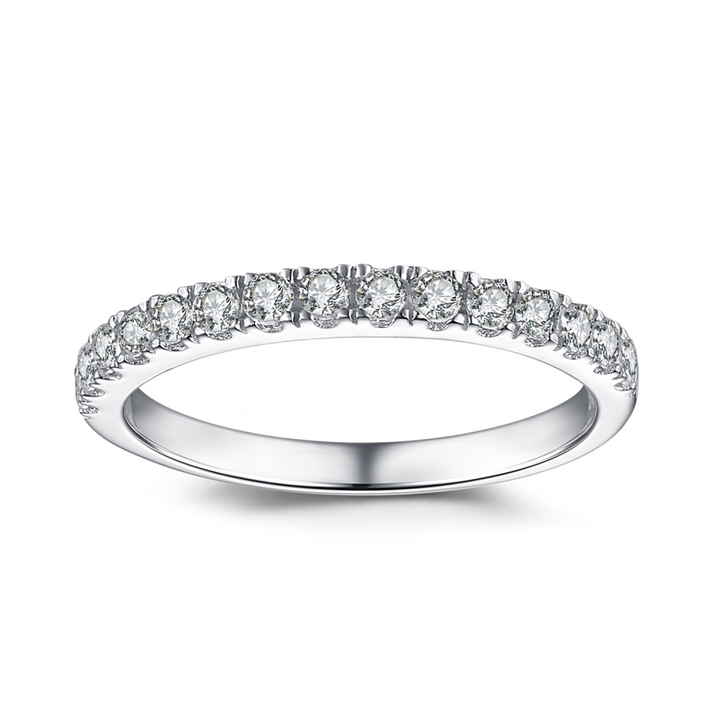 Simplistic Bands: Simple Round Cut White Sapphire 925 Sterling Silver Women