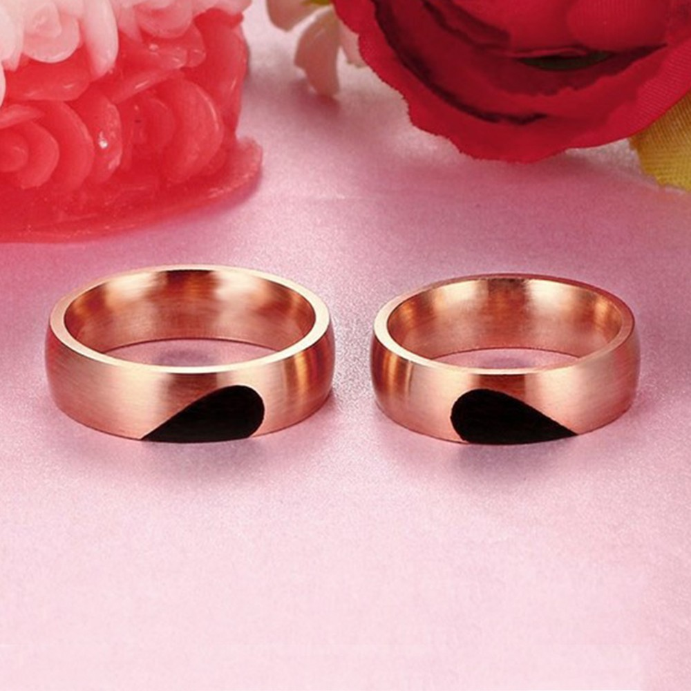 Special Design Gold Titanium Steel Couples Ring - Tinnivi Jewelry