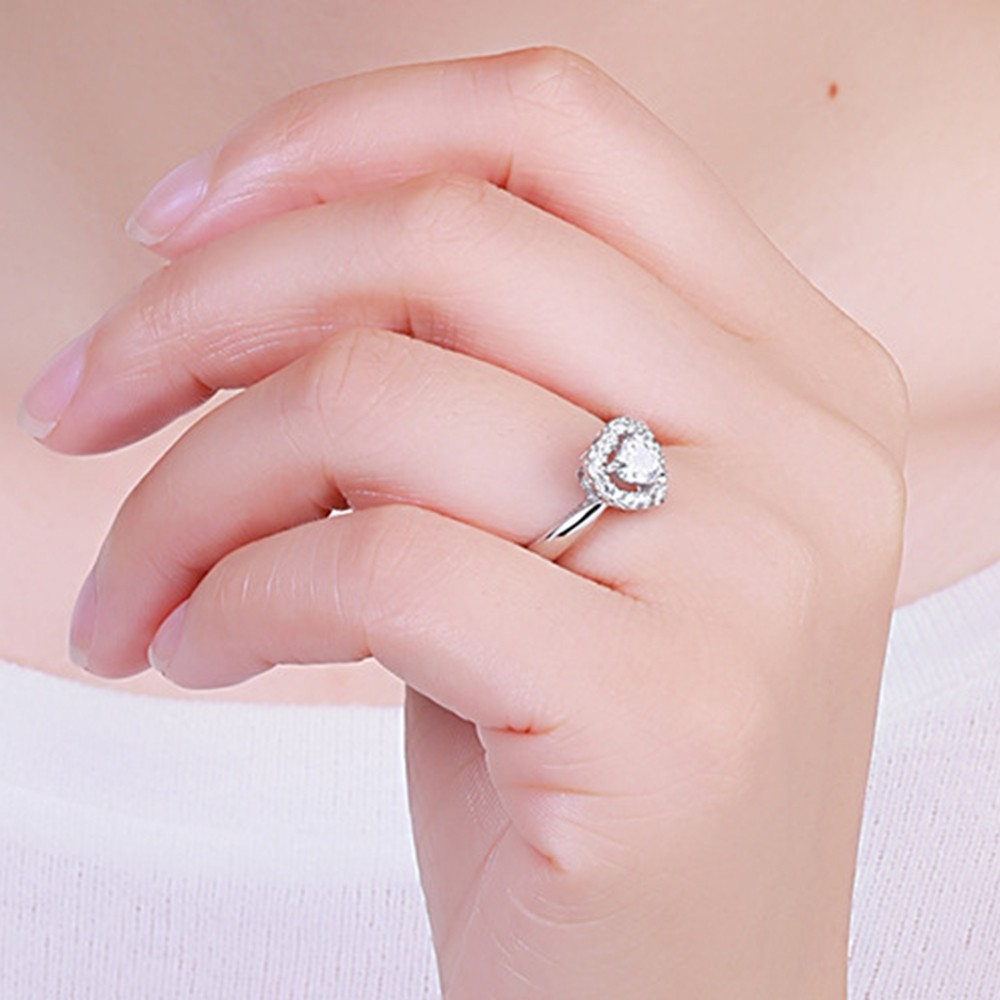 Heart Cut White Sapphire 925 Sterling Silver Adjustable Engagement ...