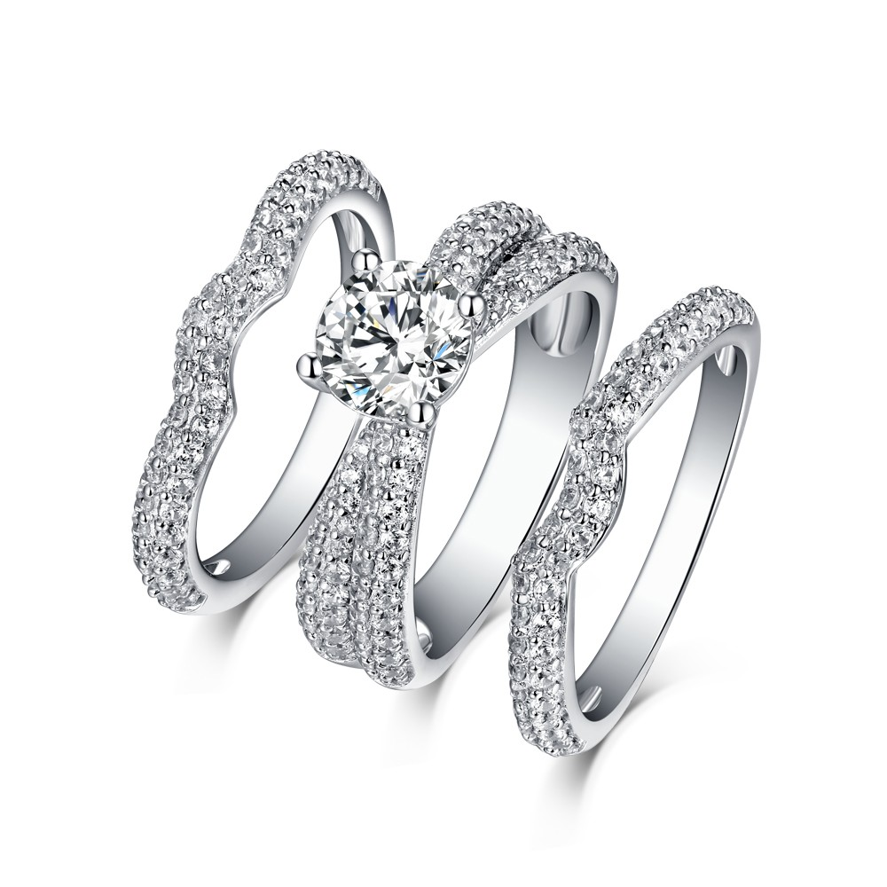 Tinnivi Sterling Silver Created White Sapphire Classic 3PC Women's Wedding Ring Set
