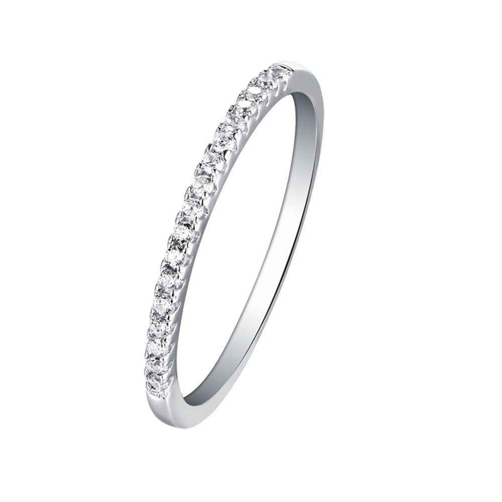 Tinnivi Sterling Silver Pave Created White Sapphire Stackable Wedding Band Ring