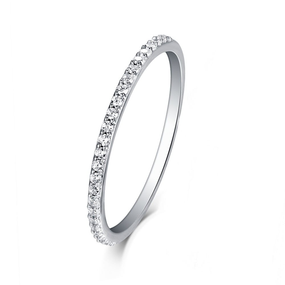 Tinnivi Pave Created White Sapphire Stackable  Sterling Silver Wedding Band Ring