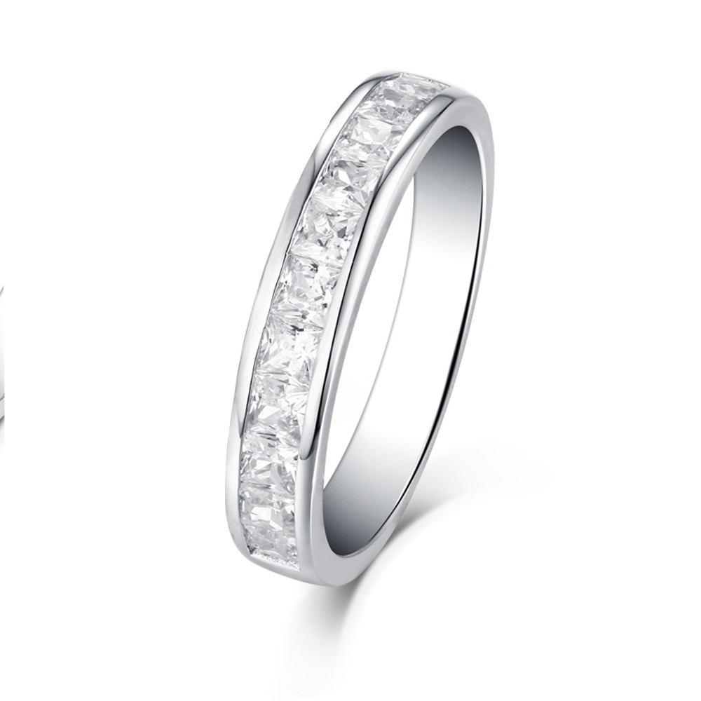 Tinnivi Sterling Silver Square-cut Created White Sapphire Stackable Wedding Ring