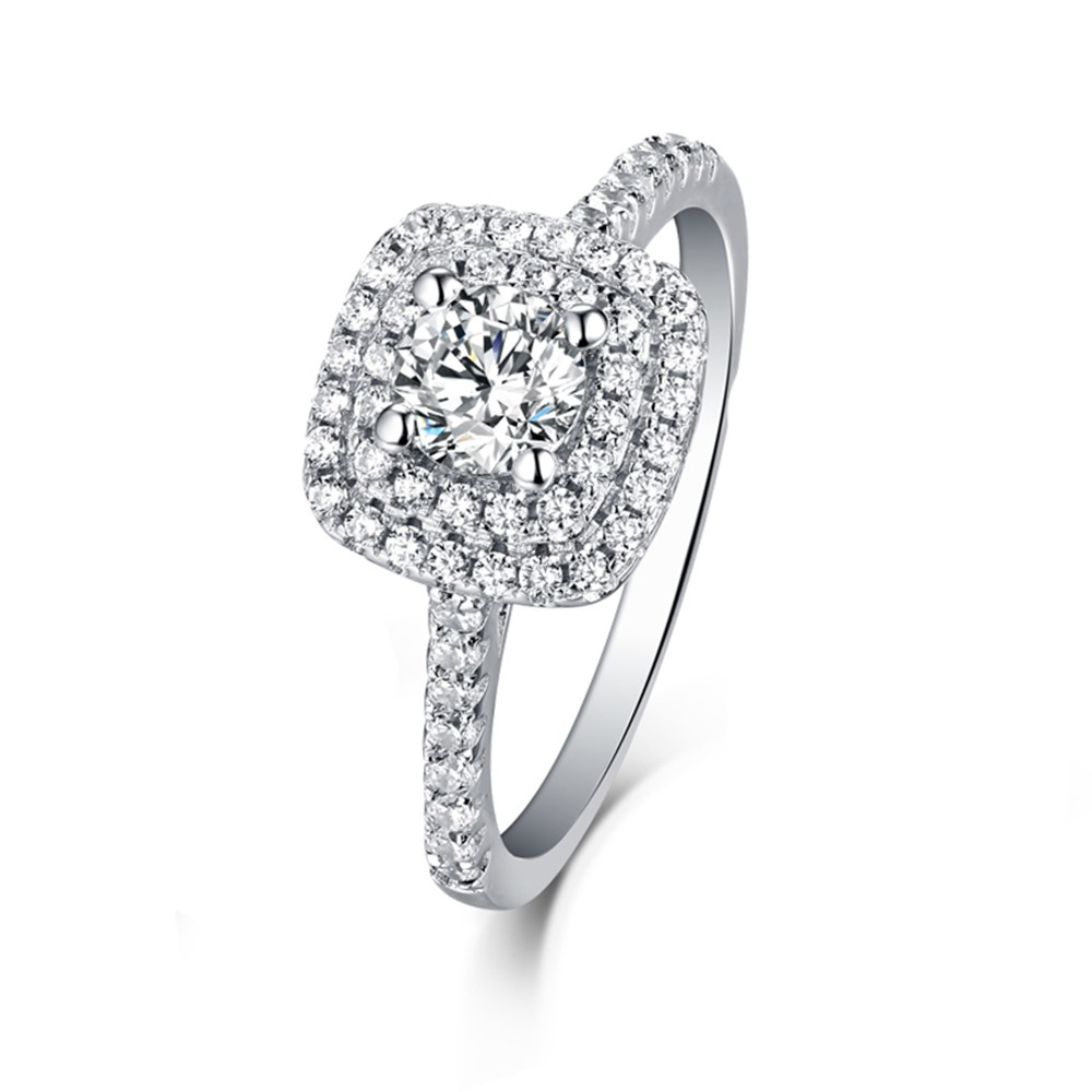 Tinnivi Sterling Silver Round Cut Created White Sapphire Double Brilliant Halo Engagement Ring