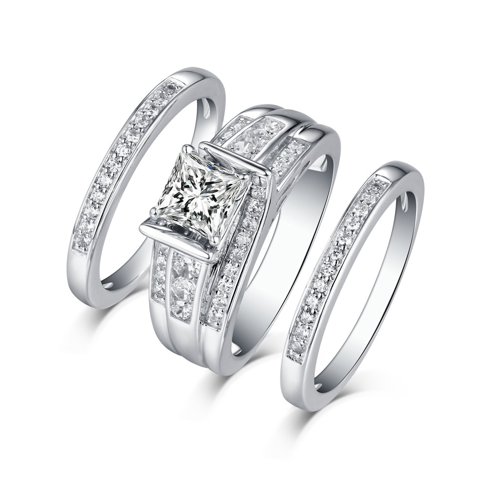 Tinnivi Sterling Silver Princess Cut Created White Shire Vintage 3pc Women S Wedding Ring Set Jewelry
