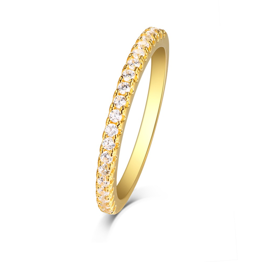 Tinnivi Gold Color Sterling Silver Pave Created White Sapphire Stackable Wedding Band
