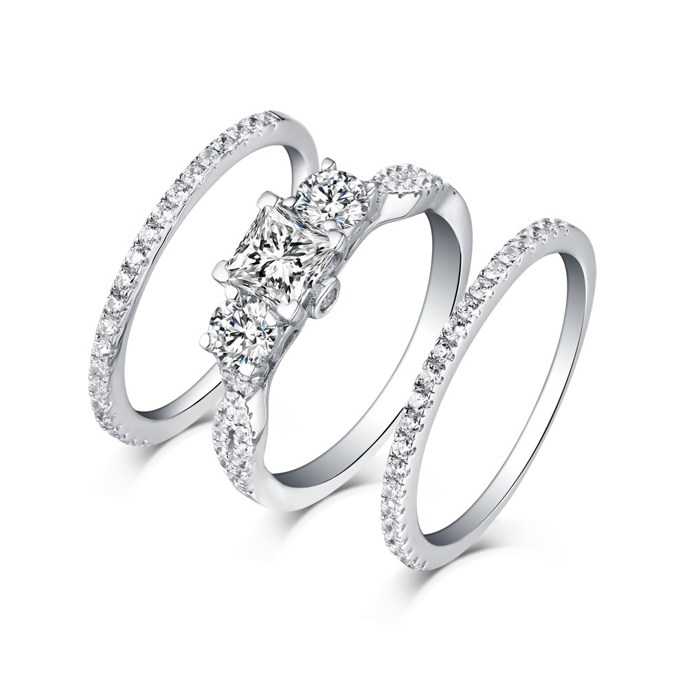 2814faef6f3b4 Tinnivi Classic Sterling Silver 3 Stone Princess Cut Created White Sapphire  3PC Wedding Ring Set