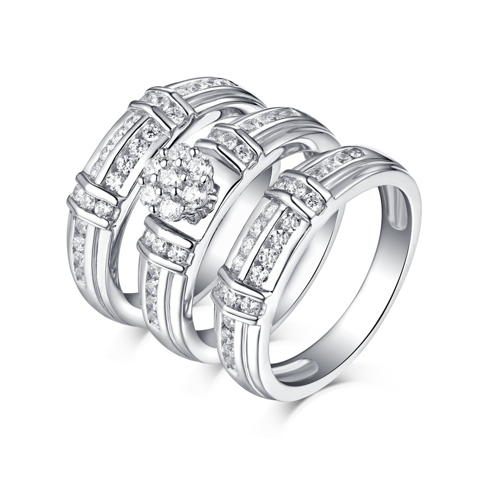 Tinnivi Sterling Silver Round Cut Created White Sapphire 3 Piece Wedding Ring Set