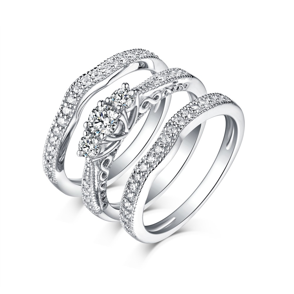 Tinnivi 3-Stone Sterling Silver Round Cut Created White Sapphire 3PC Wedding Ring Set