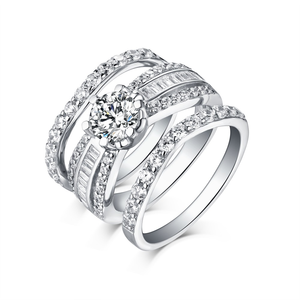 3 piece wedding ring sets for him and her tinnivi sterling silver cut created white sapphire 1094