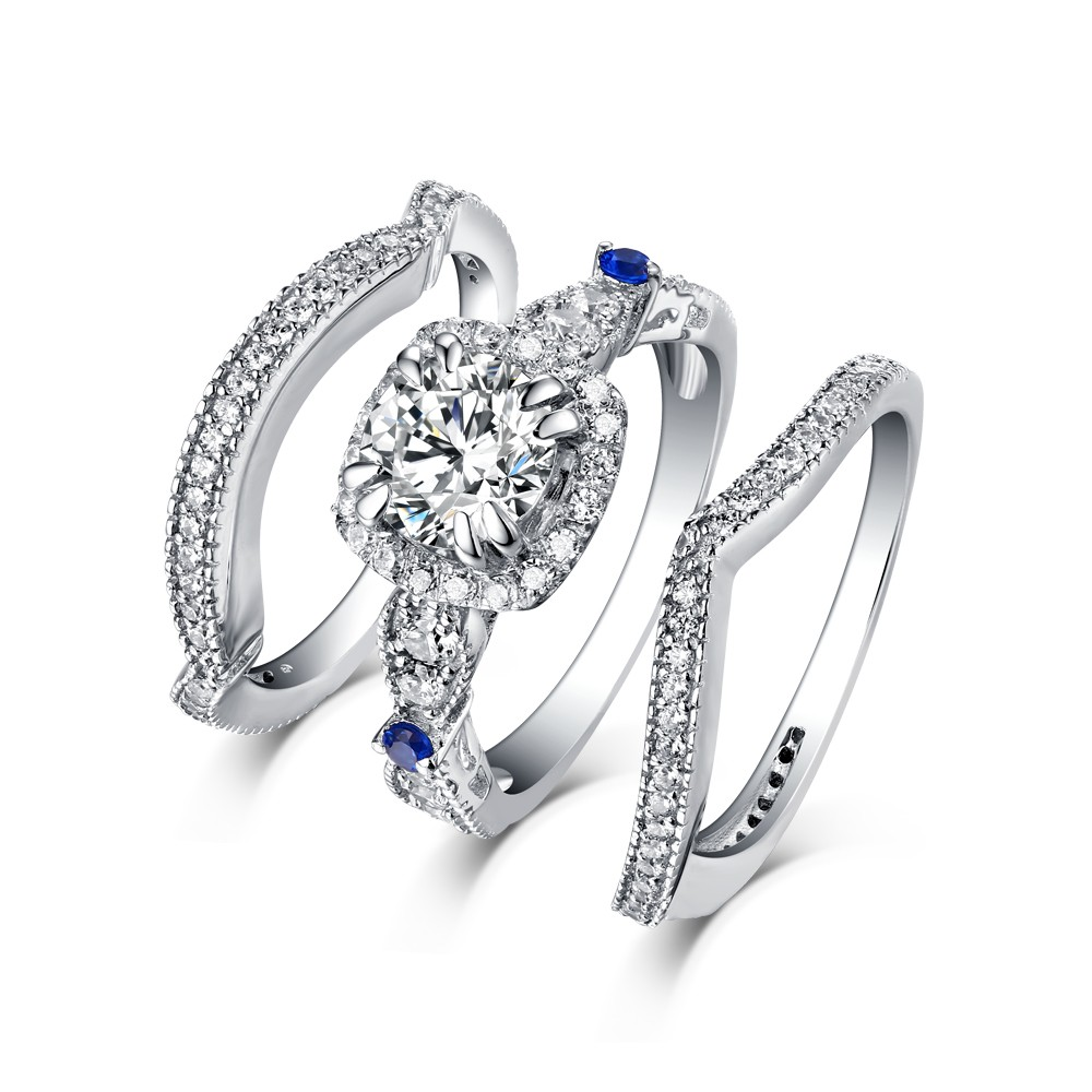wedding set dt cz sapphire bling itm princess silver sp ring jewelry responsive simulated cut az image