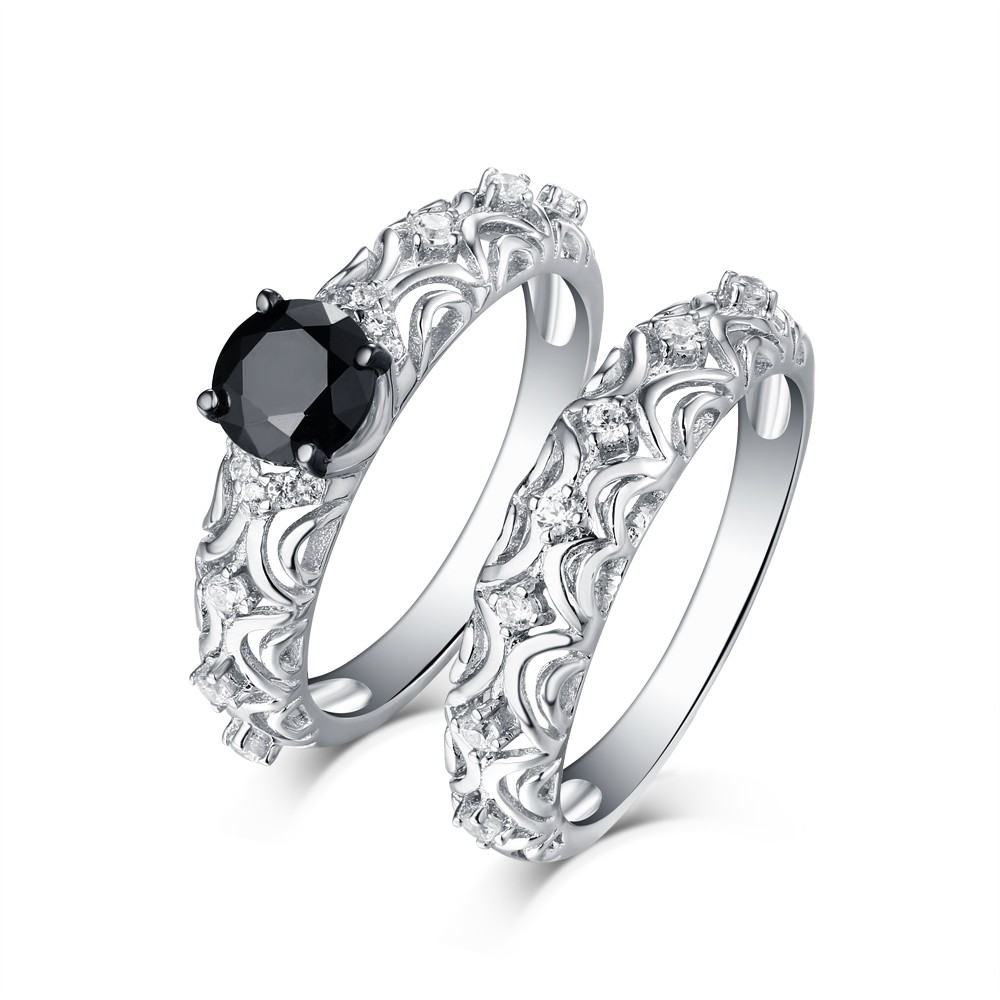 29fab1f4cb3901 Tinnivi Vintage Style Sterling Silver Black Diamond Women's Bridal Ring Set  - Tinnivi Jewelry