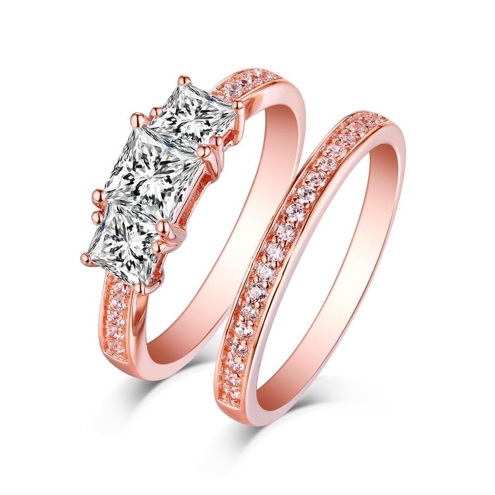 Tinnivi Classic Sterling Silver 3 Stone Princess Cut Created White Sapphire Rose Gold Color 2 Piece Bridal Ring Set