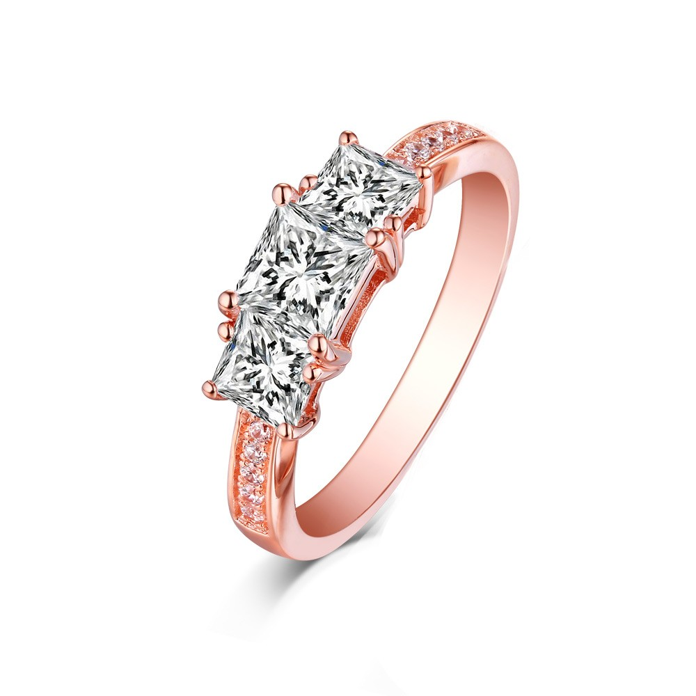 Tinnivi Rose Gold Plated Sterling Silver Three Stones Princess Cut Created White Sapphire Engagement Ring