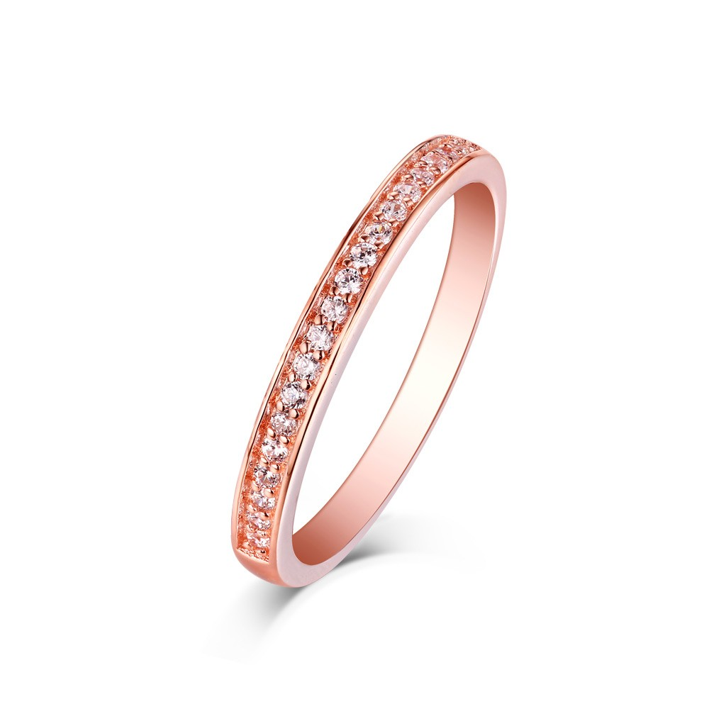 Tinnivi Rose Gold Plated Sterling Silver Pave Created White Sapphire Wedding Band
