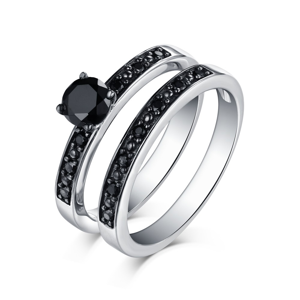 Tinnivi Sterling Silver Round Cut Stackable Black Diamond Engagement Bridal Ring Set