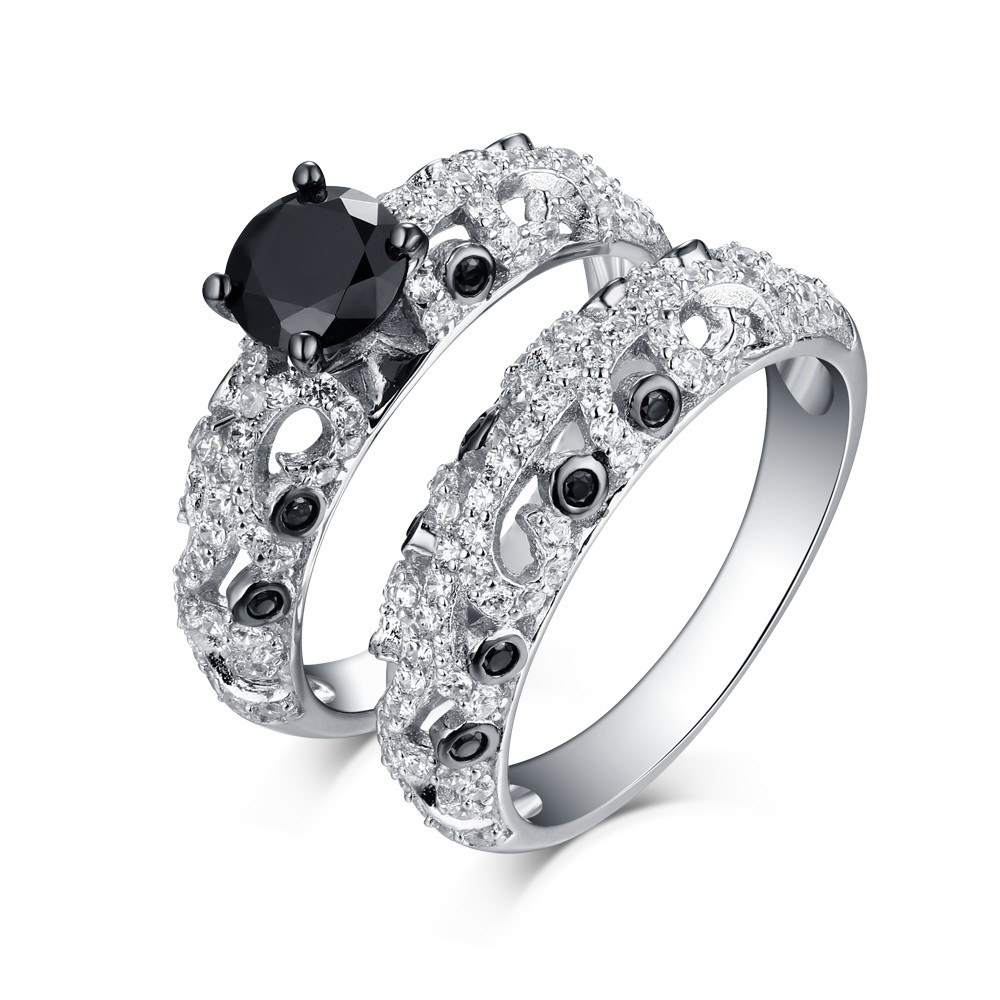 Tinnivi Vintage Style Sterling Silver Round Cut Black Diamond Wedding Ring Set