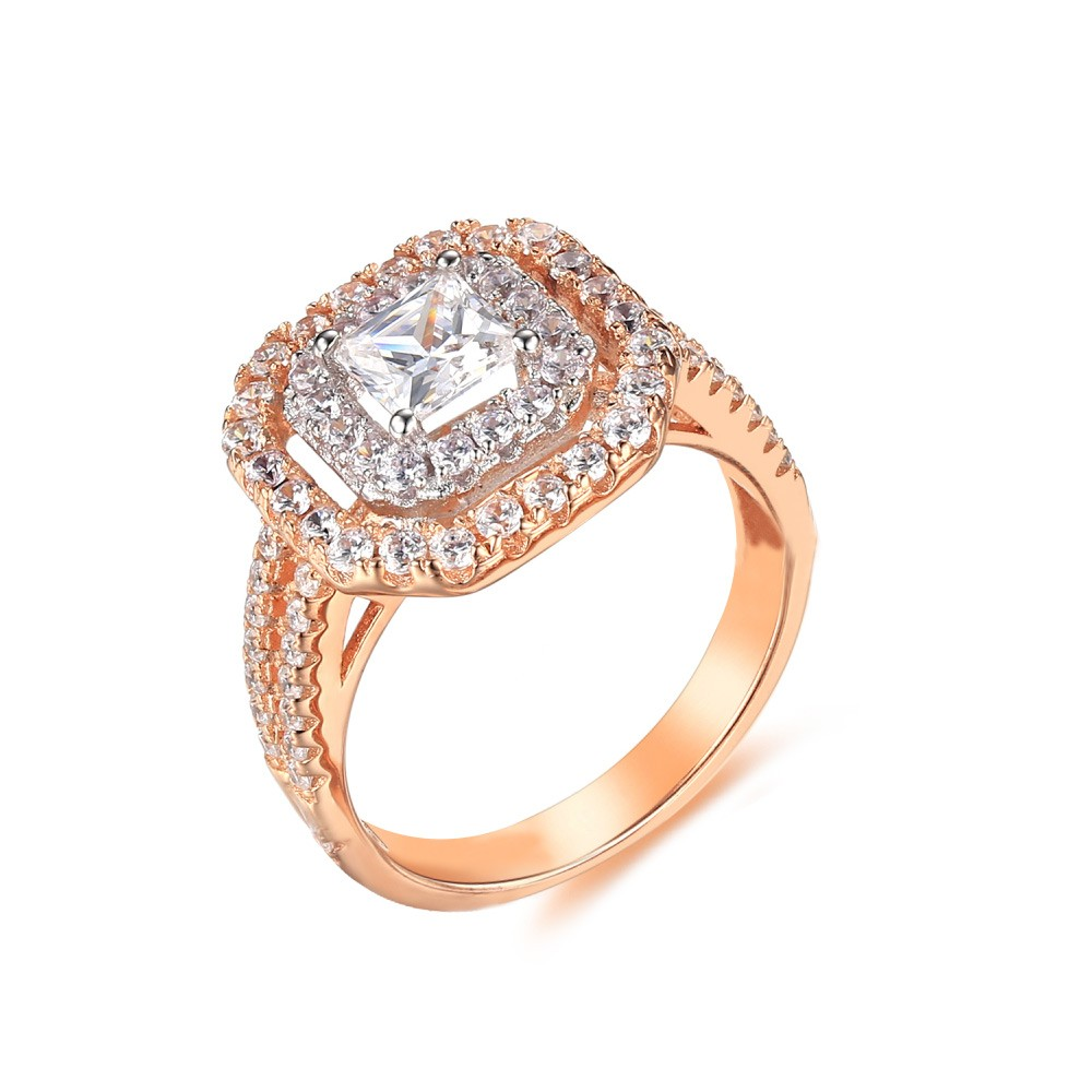 Tinnivi Rose Gold Plated Sterling Silver Double Halo Princess Cut Created White Sapphire Engagement Ring