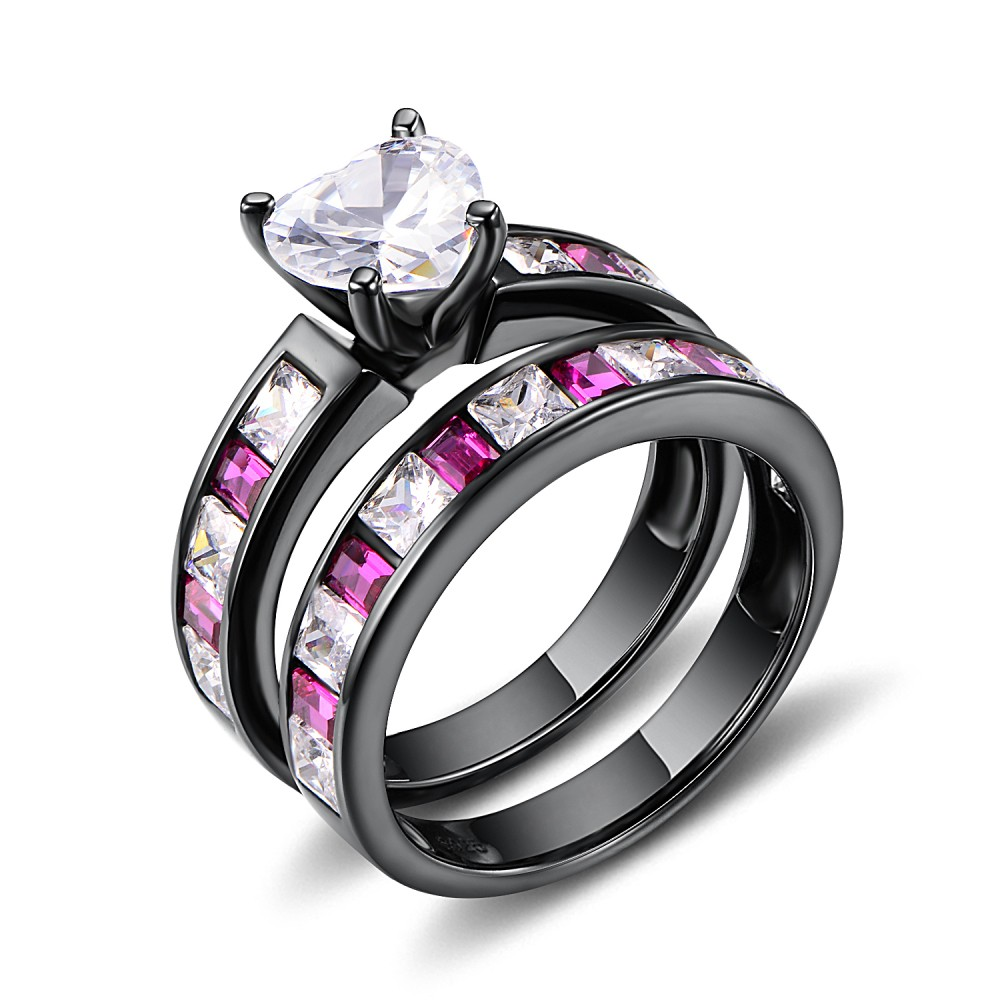 Heart Cut White Sapphire Black 925 Sterling Silver Bridal Ring Sets