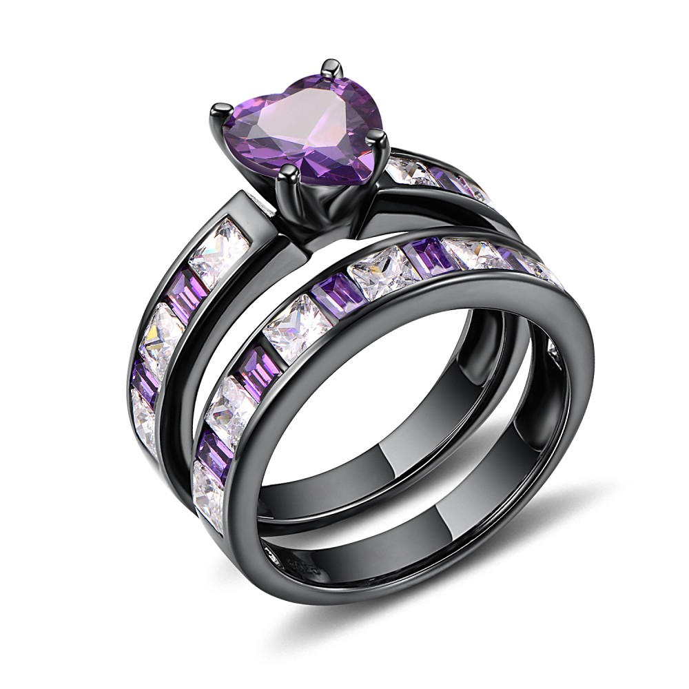 Heart Cut Amethyst Black 925 Sterling Silver Women's Ring
