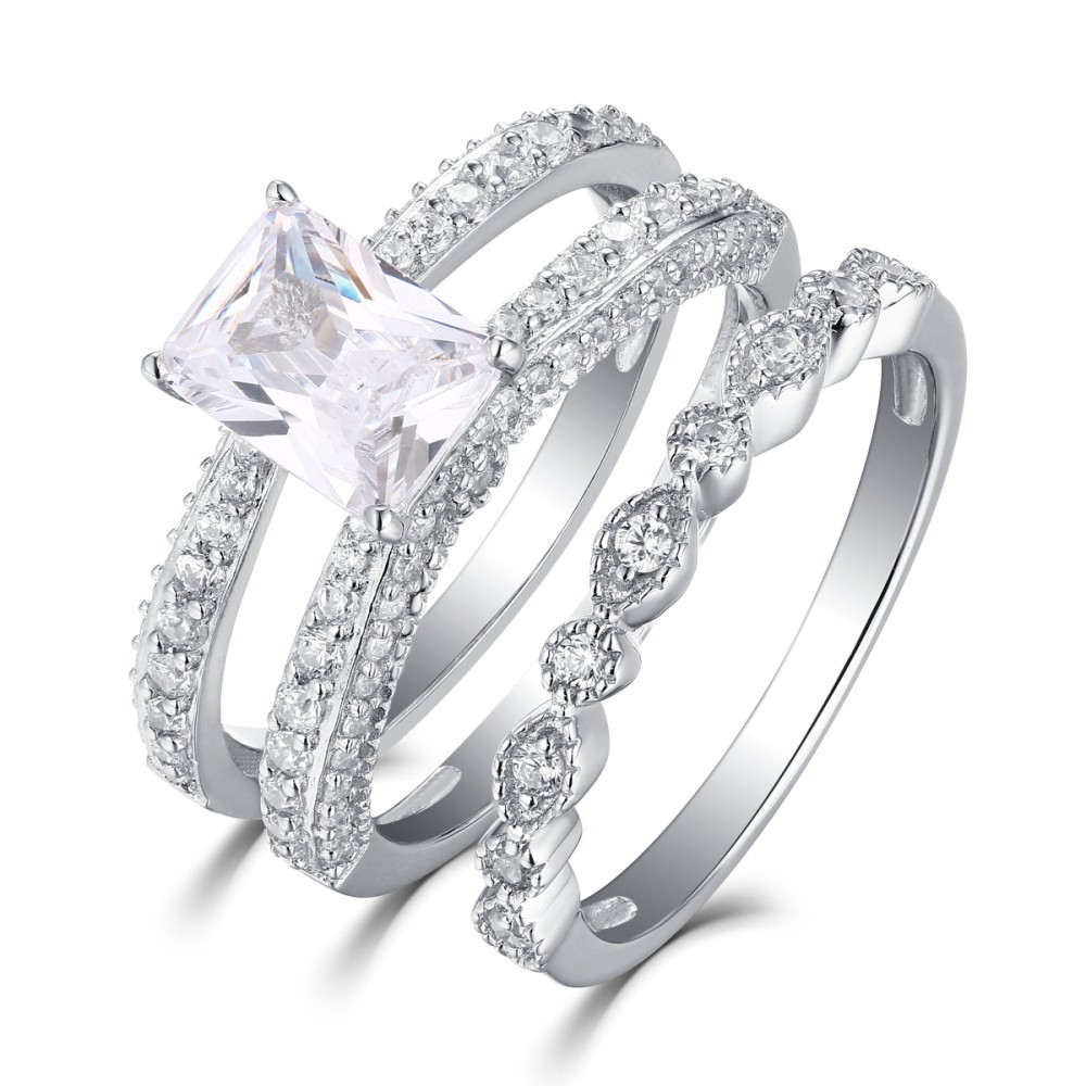 ring white set lajerrio jewelry sets cut wedding piece princess sapphire sterling silver