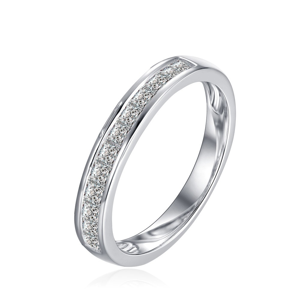 Tinnivi Pave Princess Cut Created White Sapphire Sterling Silver Wedding Band