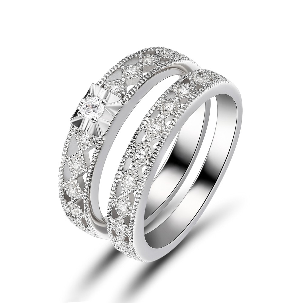 Women's White Sapphire Round Cut 925 Sterling Silver Engagement Ring