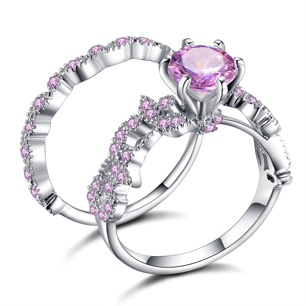 Cushion Cut Amethyst Sapphire Sterling Silver Engagement Ring