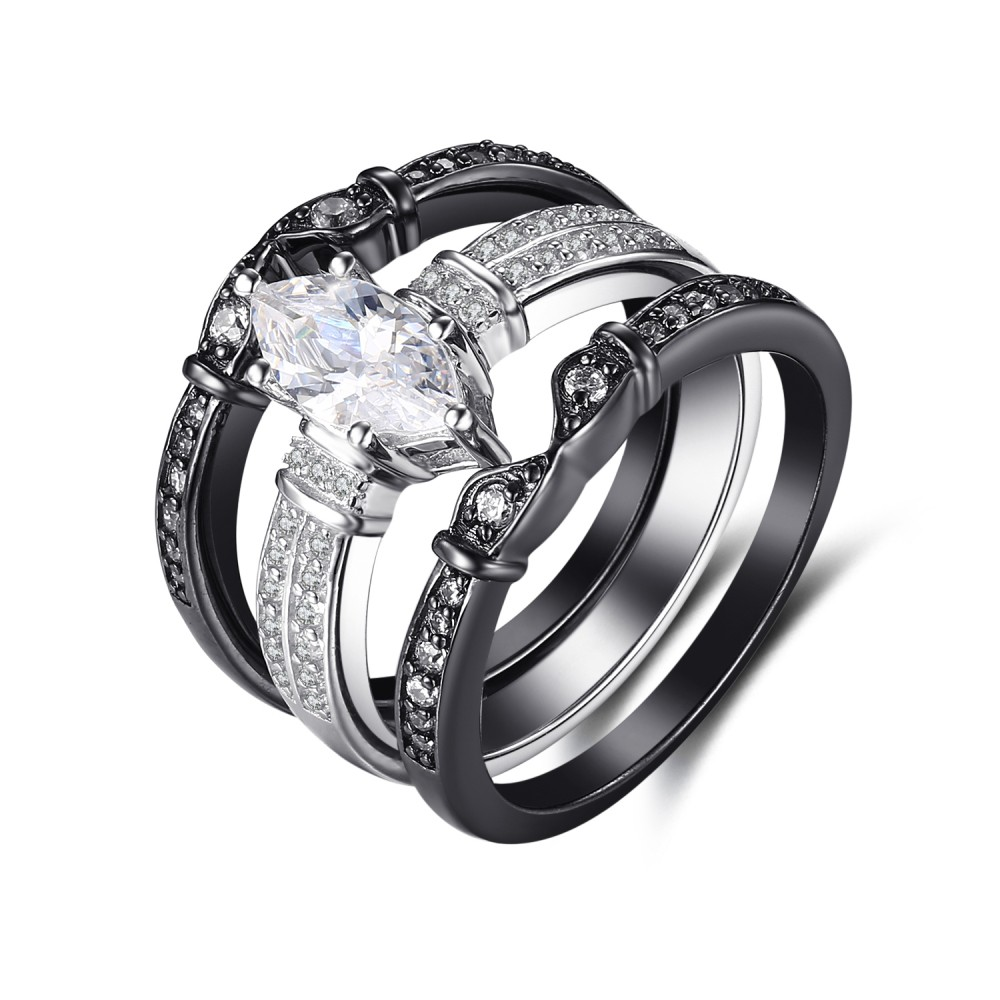 Tinnivi 3PC Sterling Silver Marquise Cut Black Matching Wedding Band Ring Set