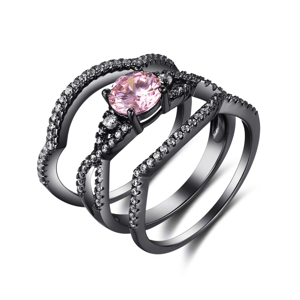 Round Cut Pink Sapphire Black 925 Sterling Silver Engagement Ring