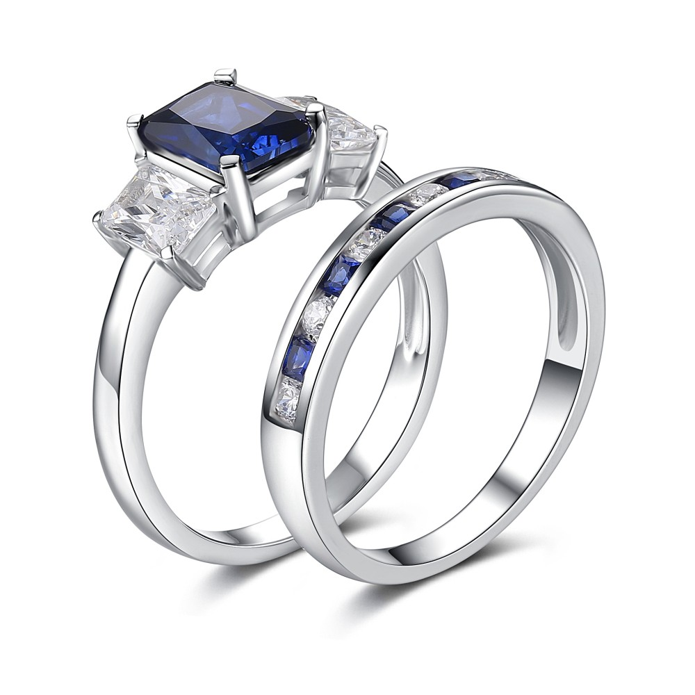 Radiant Cut Sapphire 925 Sterling Silver Engagement Ring
