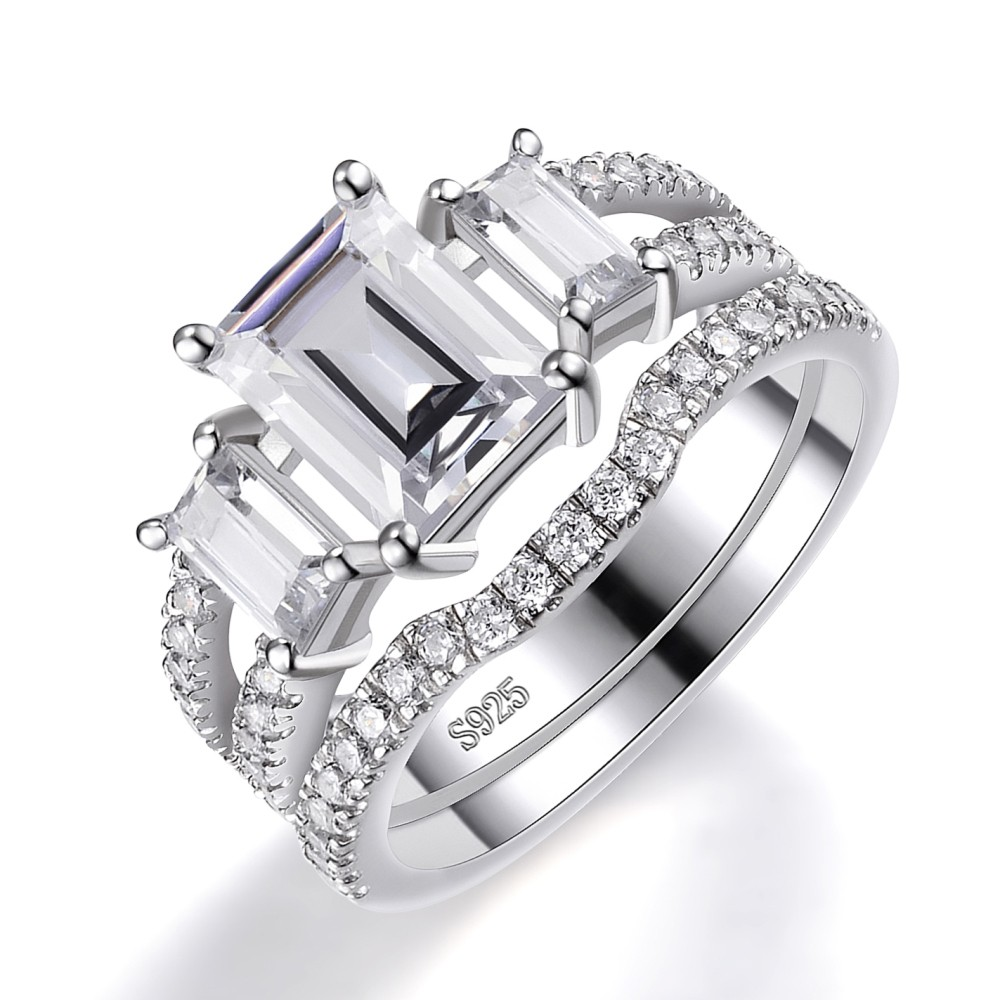 Three Stone Emerald Cut White Sapphire 925 Sterling Silver Women's Bridal Ring