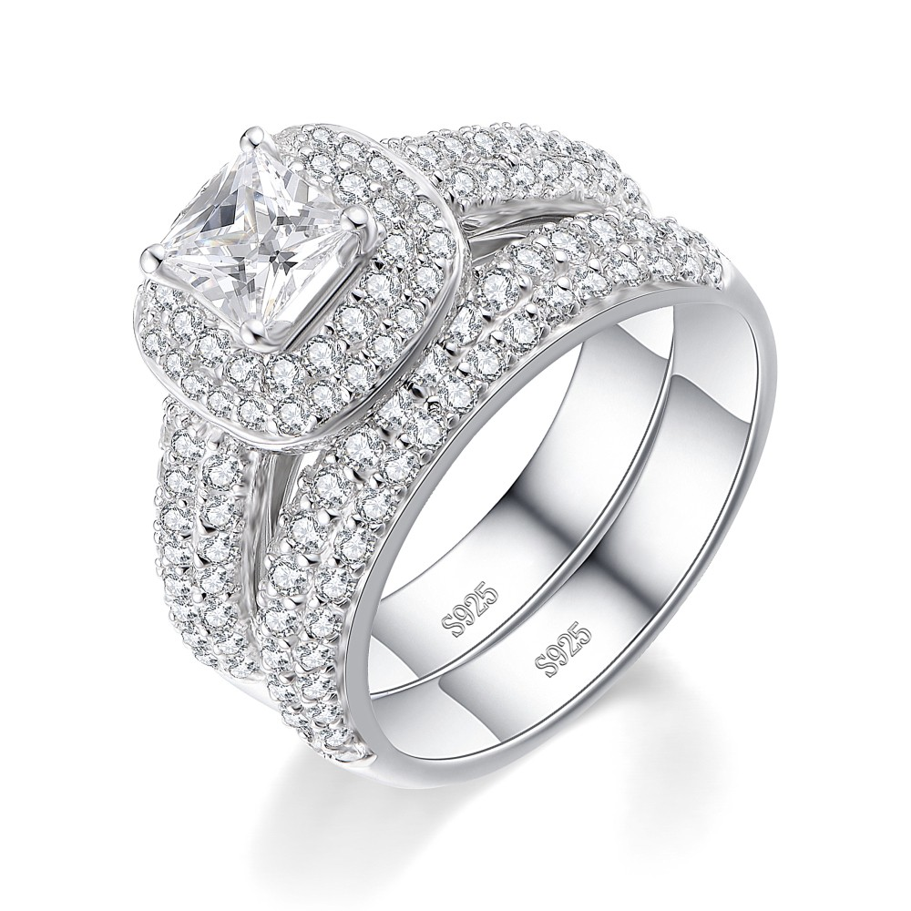 Tinnivi Princess Cut White Sapphire Sterling Silver Women's Bridal Set Ring