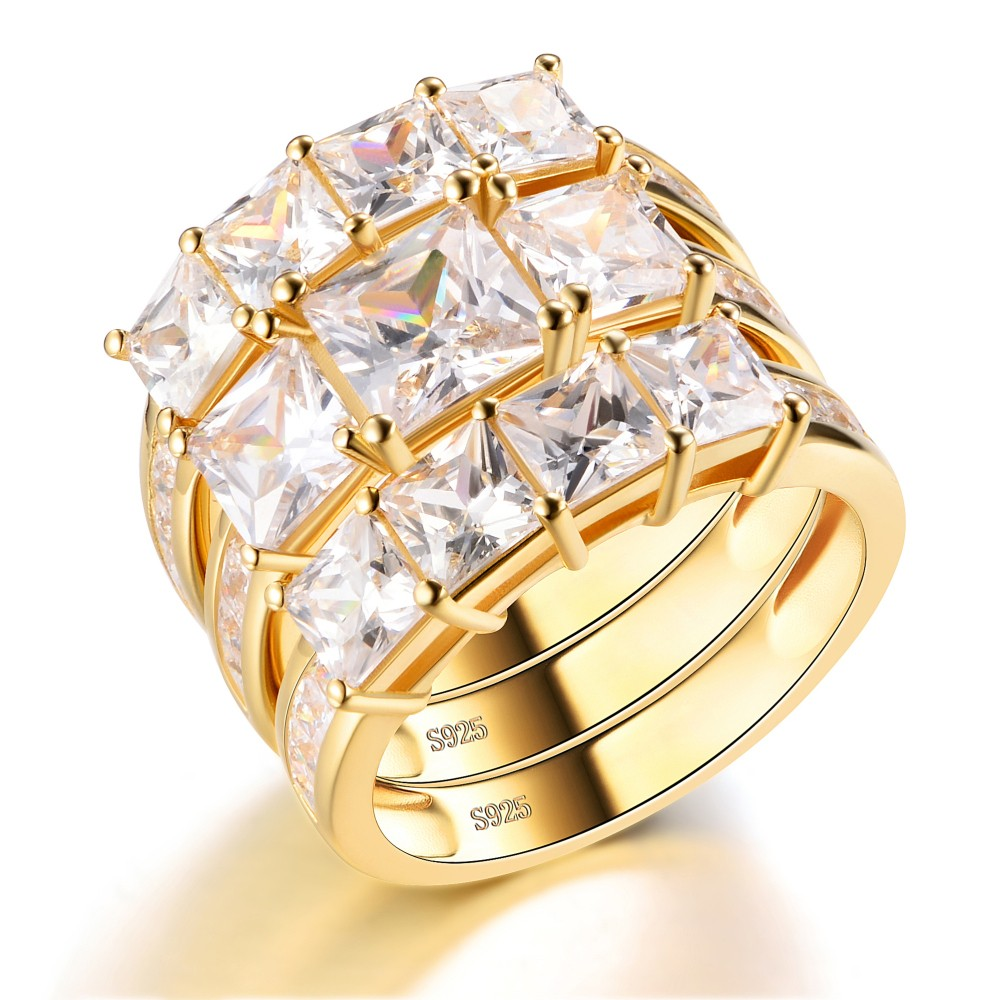 Yellow Gold Princess Cut White Sapphire Sterling Silver Women's Wedding Ring