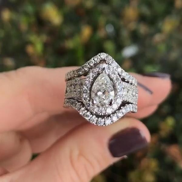 Pear Cut White Sapphire Sterling Silver 3-Piece Wedding Ring Set