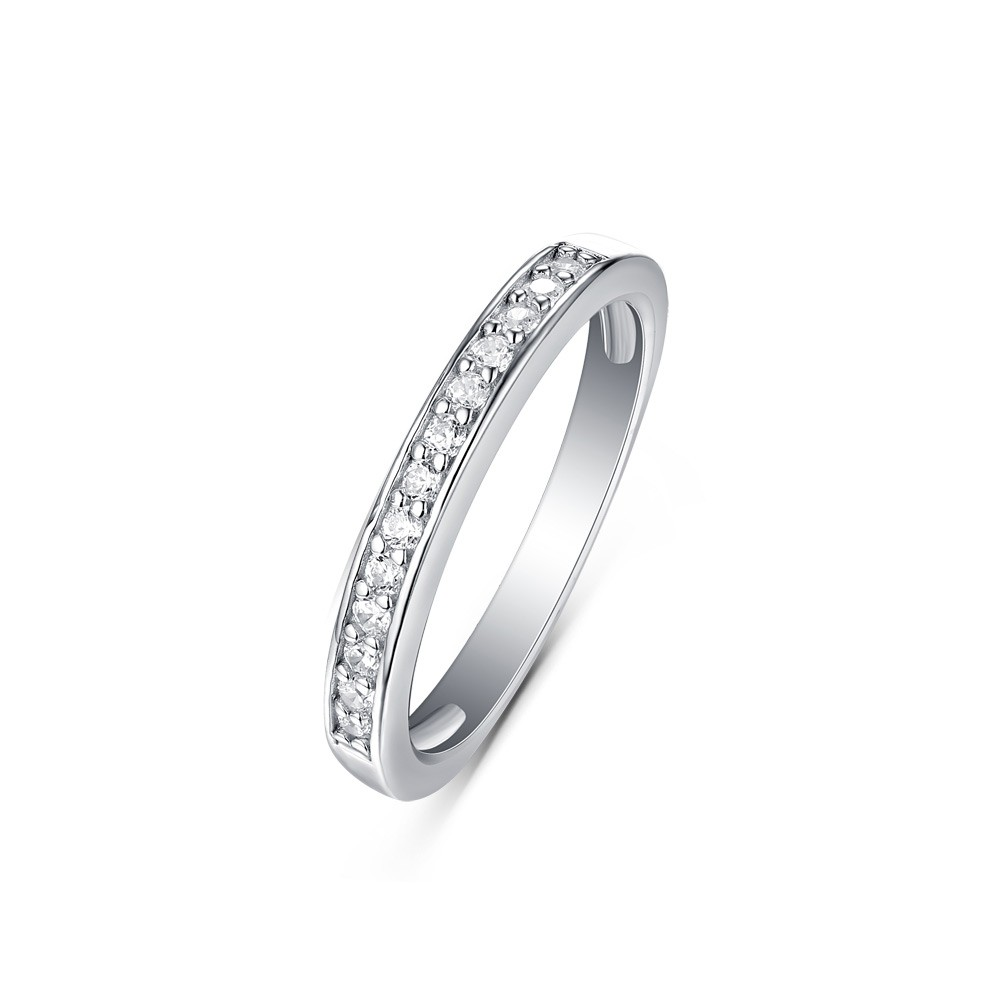 Tinnivi Simple Sterling Silver Created White Sapphire Wedding Band