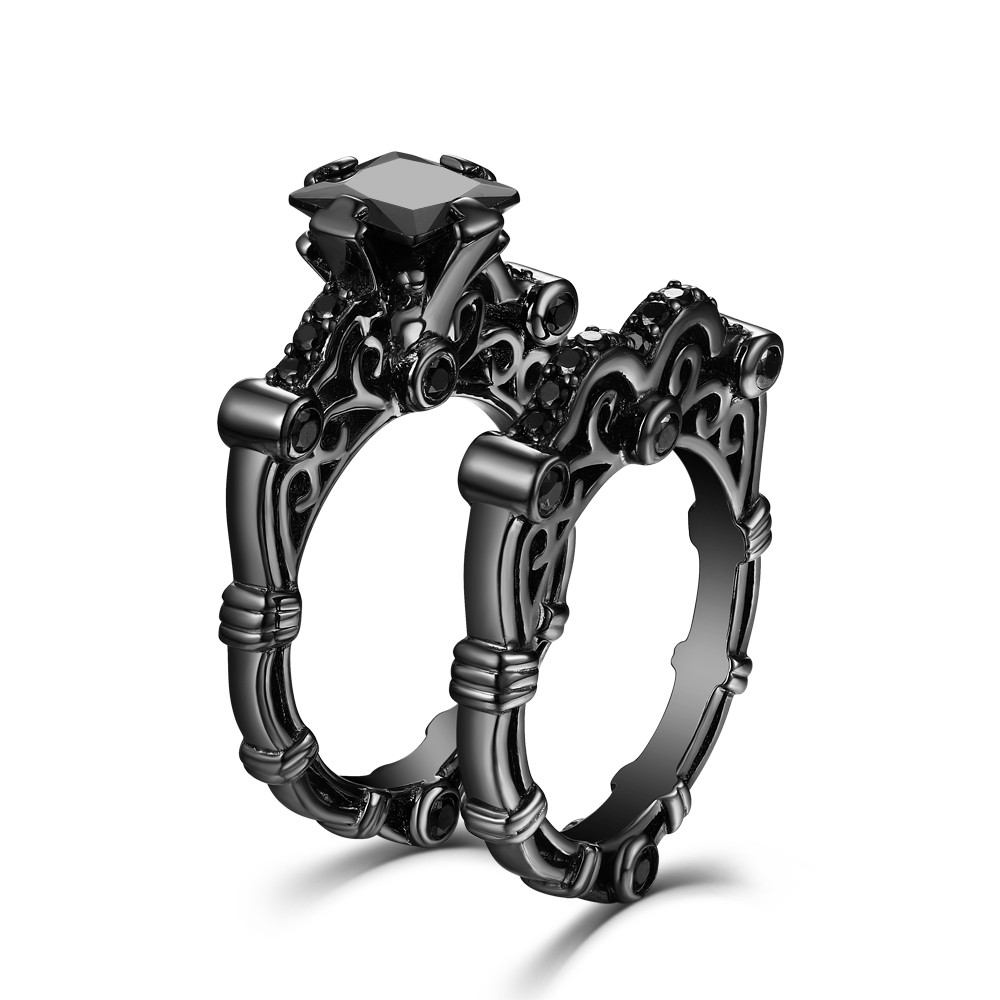 unique tinnivi silver rings wedding cut black ring diamond sterling engagement princess created