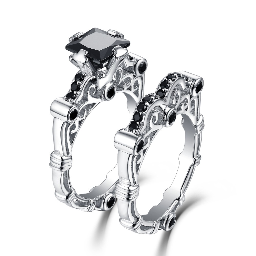 Princess Created Black Diamond 925 Sterling Silver Wedding Ring Set