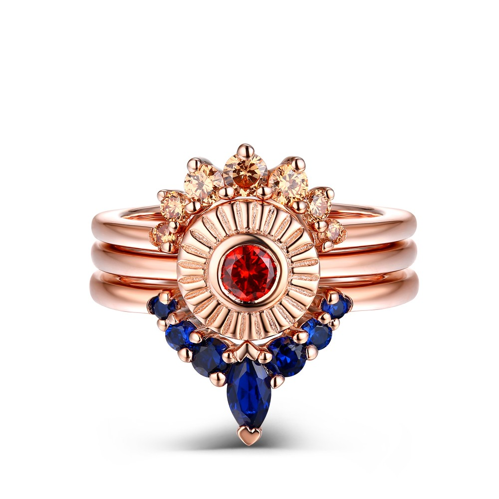Unique Created Orange And Blue Sapphire Sunset Ring Set